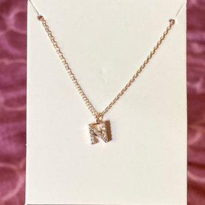 Crystal Initial Pendant Necklace